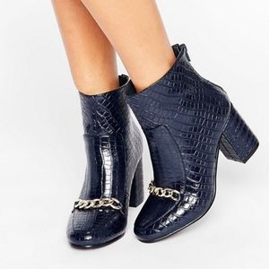 ASOS Navy Leather Croc Ankle Boots Chain Detail
